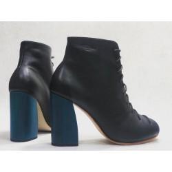 Friné handmade leather shoes black napa wooden heels blue 9 cm
