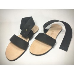 IO handmade leather sandals fatty black