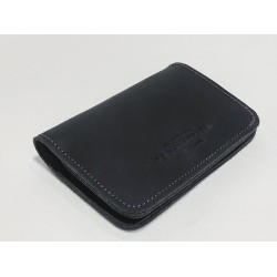 1656 handmade leather wallet fatty black details lilac