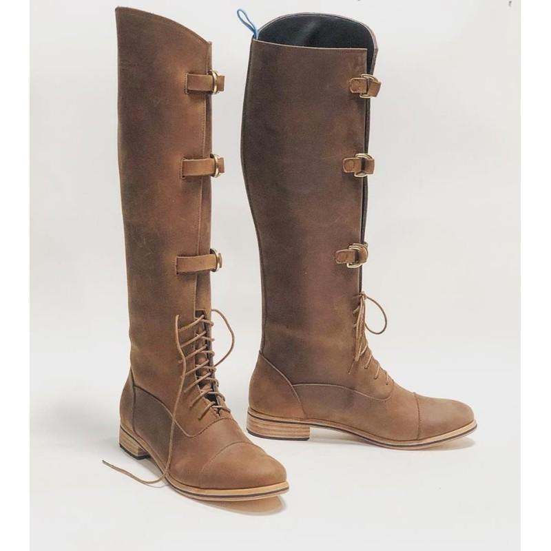 Juliana Polo Fem handmade leather boots fatty brown details black