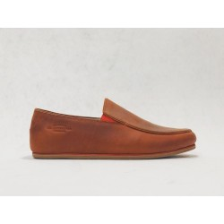 Limeñas handmade leather flat shoes fatty red details red brown