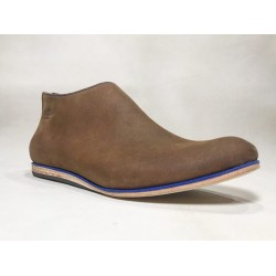 Barro handmade leather shoes wine brown ranger details blue