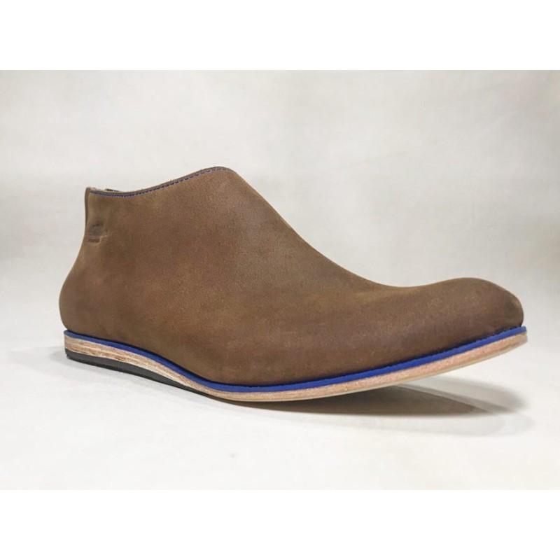 Barro handmade leather shoes wine brown ranger details blue