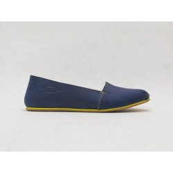 Pampa Fem handmade leather shoes fatty blue details yellow beige