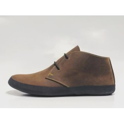Chavo Recycled handmade leather shoes wine brown ranger details yellow black