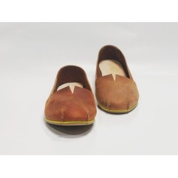 Pampa Fem handmade leather shoes wine brown ranger fatty red inverted details yellow