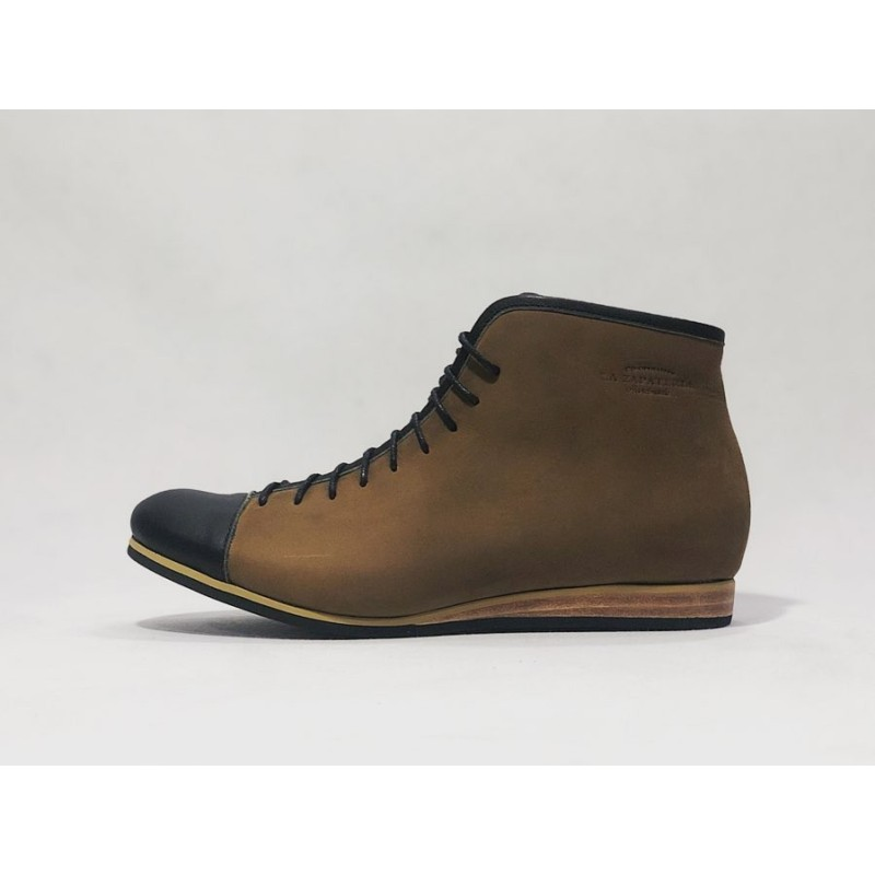 Ocho handmade leather shoes fatty camel black napa details black beige
