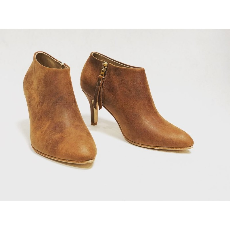 Bardot handmade leather shoes wine brown ranger heels 7 cm