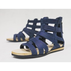 Mio handmade leather sandals fatty blue details black