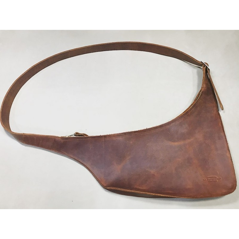 Toba handmade leather shoulder bag wine brown ranger