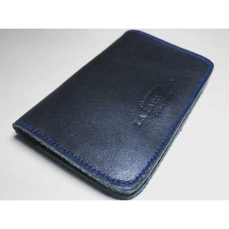 1656 handmade leather wallet black napa details blue
