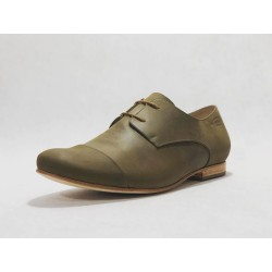Sunset Classique handmade leather shoes fatty green details brown  beige - Cooperative Handmade