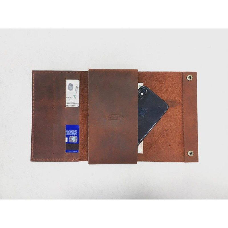 Case Phone Wallet handmad leather wallet fatty red