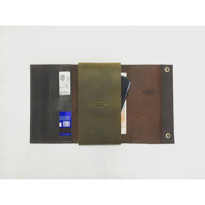 Case Phone Wallet handmade leather wallet fatty brown fatty green