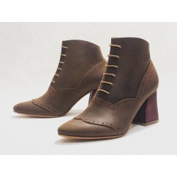 Madam Walker handmade leather shoes fatty brown details red wooden heels red 7 cm
