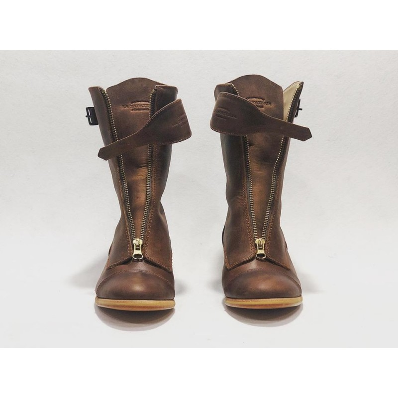Quiroga handmade leather boots wine brown ranger details beige