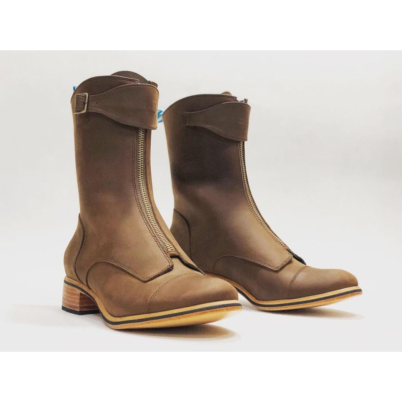 Quiroga handmade leather boots fatty brown details black