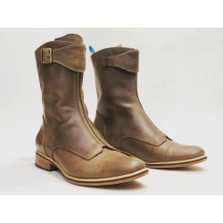 Quiroga handmade leather boots camel cerato details black