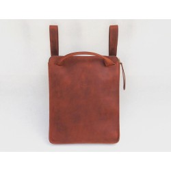 Nómada Backpack handmade leather laptop backpack fatty red zipper