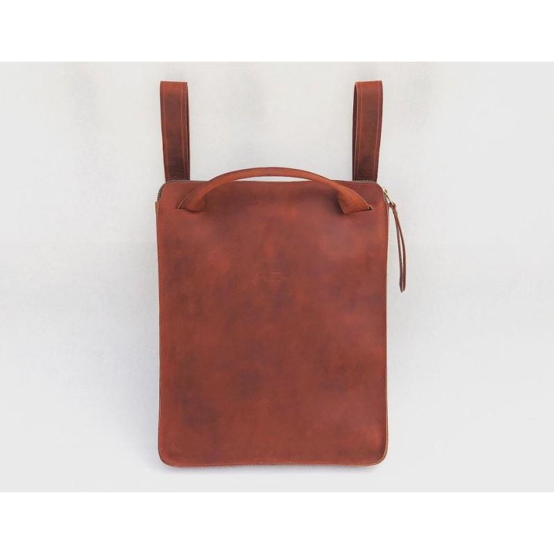 Nómada Backpack handmade leather laptop backpack fatty red zipper