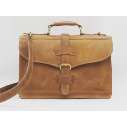 Viejo Matías handmade leather laptop briefcase sand ranger