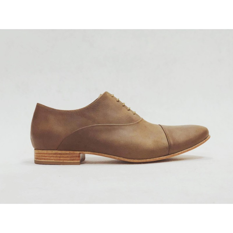Satie handmade leather shoes camel cerato