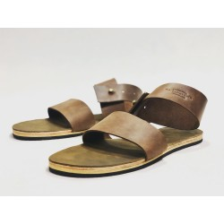 IO handmade leather sandals camel cerato fatty green details beige