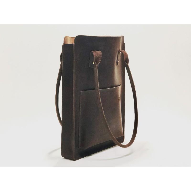 Nómada Bag 2 handmade leather laptop bag fatty brown
