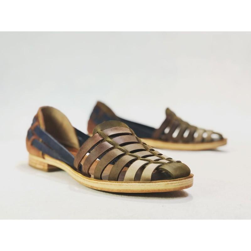Indian Beloved handmade leather sandals green dry soil camel brown blue wine brown caramel details beige