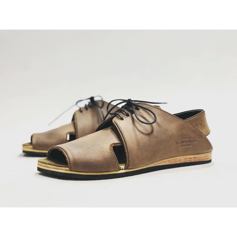 Selva handmade leather sandals wine brown ranger details yellow