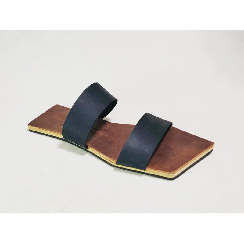 Inca handmade leather sandals wine brown ranger fatty black matte details beige