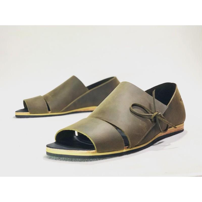 Nuna handmade leather sandals fatty green fatty black details beige
