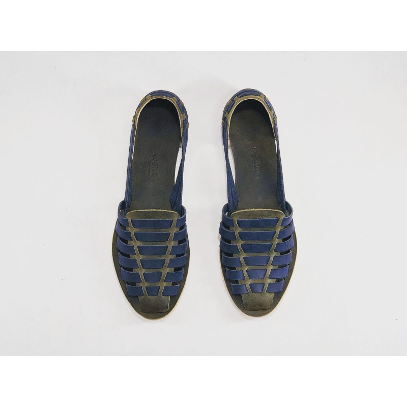 Indian Beloved handmade leather sandals fatty green fatty blue details beige