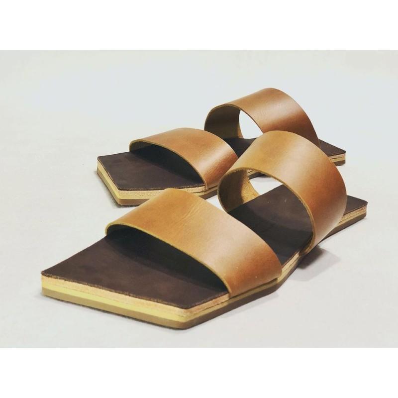 Inca handmade leather sandals caramel ranger fatty brown details beige