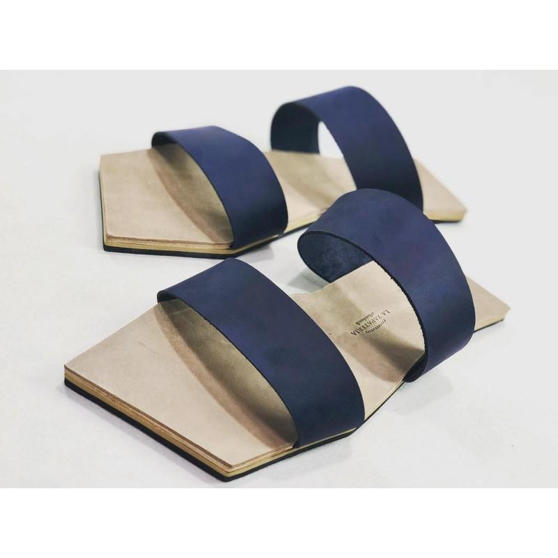 Inca handmade leather sandals fatty ocean blue fatty dry soil details beige