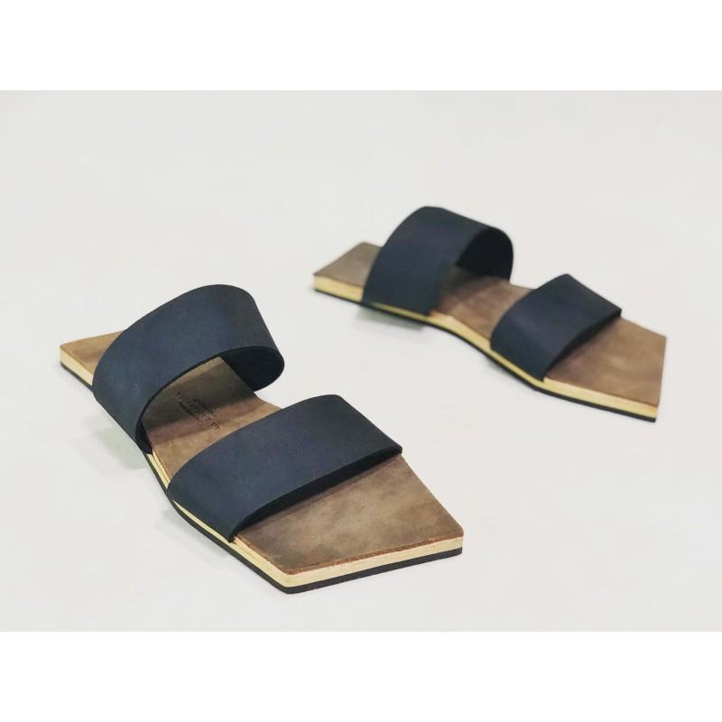 Inca handmade leather sandals fatty black camel cerato details beige