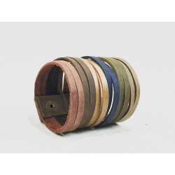 Piana handmade leather wristband wine brown brown caramel blue green camel
