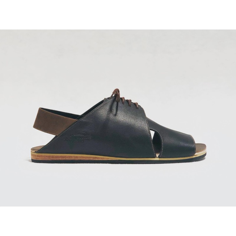 Selva handmade leather sandals black napa fatty brown details brown beige