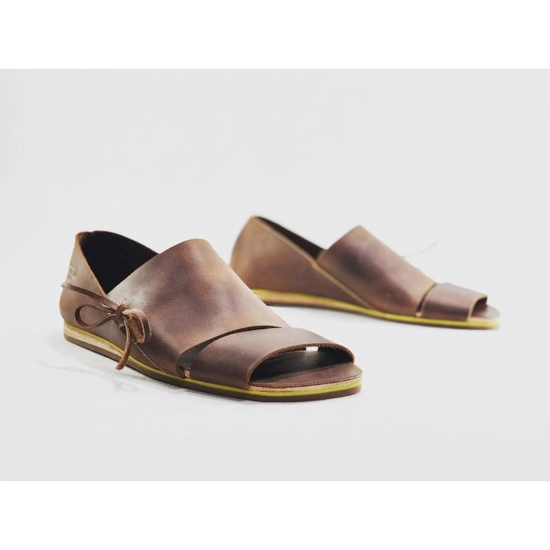 Nuna handmade leather sandals wine brown ranger details yellow