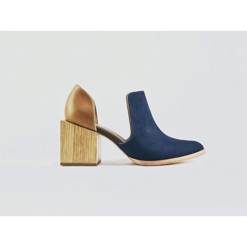 Alfonsina handmade leather shoes fatty blue caramel ranger details green beige wooden heels natural 7 cm