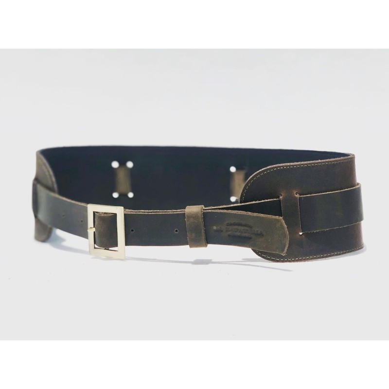 Roma handmade leather belt fatty brown fatty green