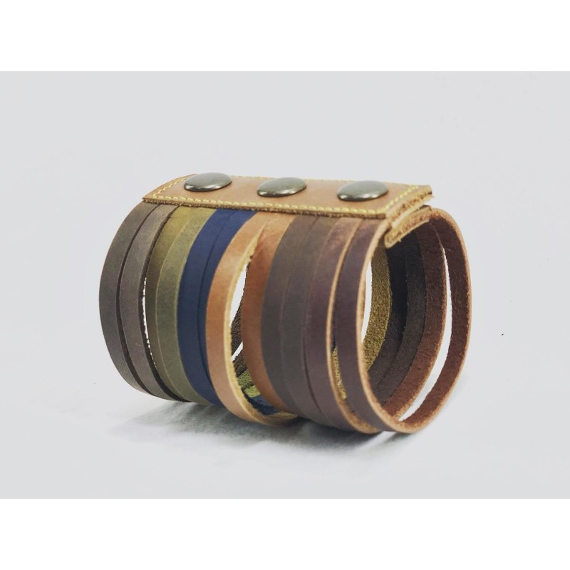 Piana handmade leather wristband caramel green blue camel wine brown brown
