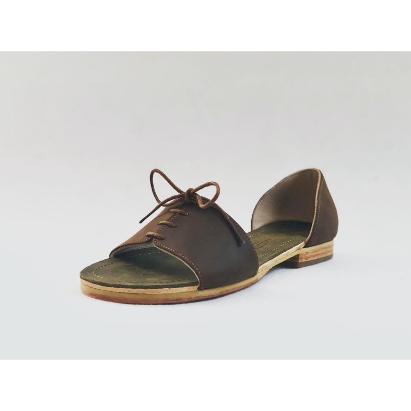 Maria green brown oily leather