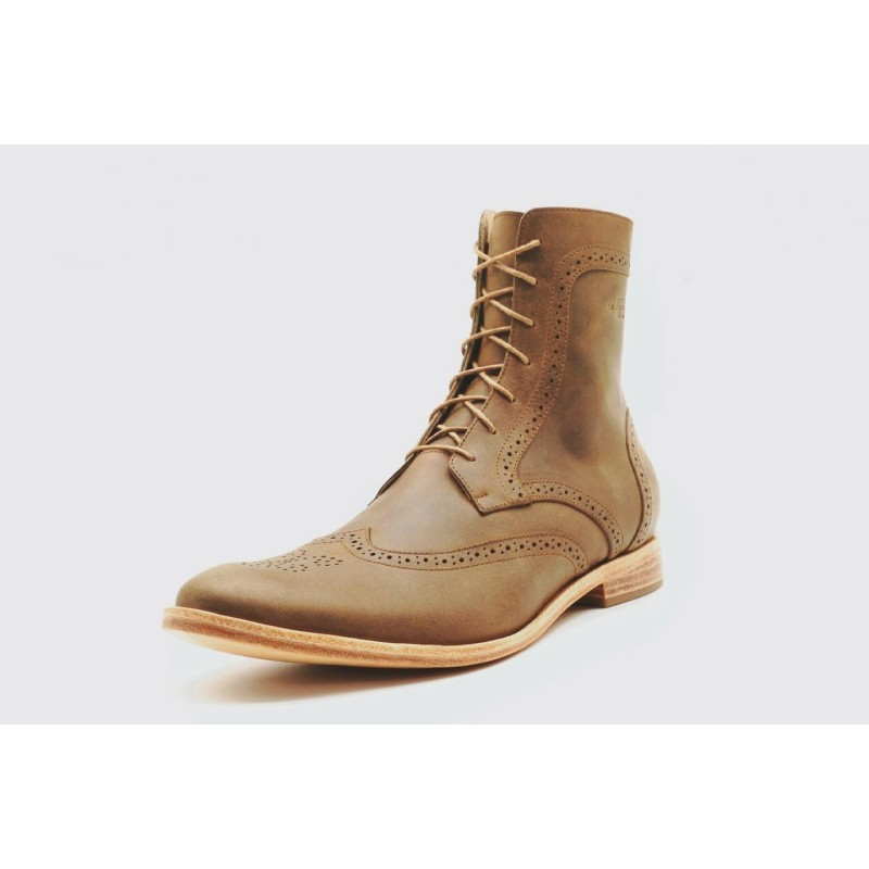 Coco Camel handmade cerato leather shoe