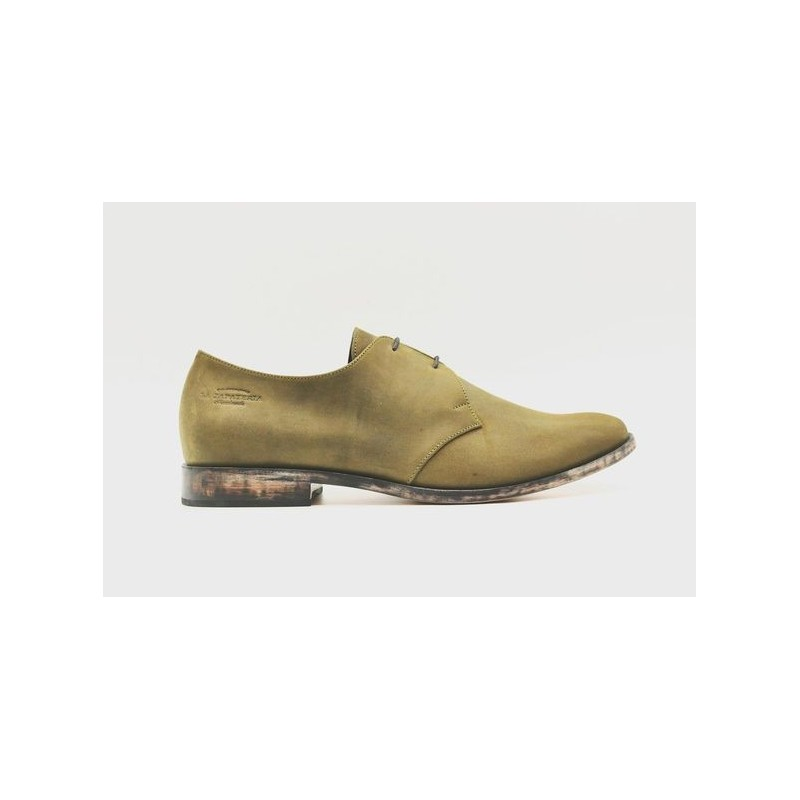 Satori Classique greasy green with frame handmade olive green leather shoe