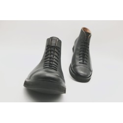 Ocho black nappa platform with black details with silver microporous and rubber