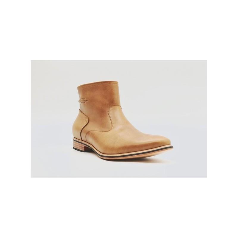 Mira handmade leather shoes caramel ranger details black