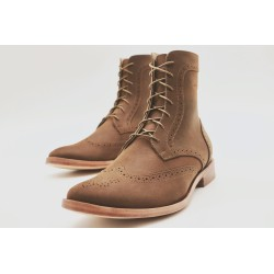 Coco greasy brown shoe lined in sheepskin and sole sole