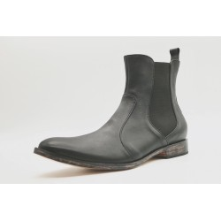 Hache Nappa leather black vintage version handmade leather shoes