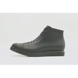 Ocho matte black with platform handmade leather shoe